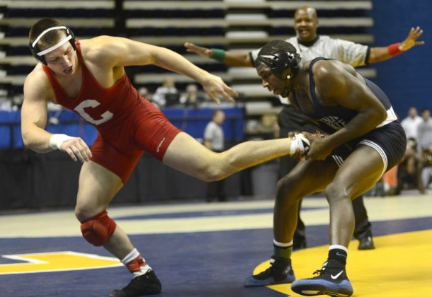 In a battle of former champions, Ed Ruth (right) defeated Cornell's Steve Bozak in the Southern Scuffle finals. If these wrestlers meet in the 2013 NCAAs, it will be in the semifinals.