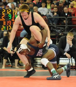 2013-14 was not a perfect year for Penn State's Ed Ruth (bottom), but the Nittany Lion hopes his fourth Big Ten title helps him earn a third NCAA championship.