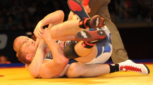 Jake Varner caught Dustin Kilgore in a cradle en route to winning the first of two Championship Series matches at 213.5 pounds during the 2014 World Team Trials in Madison, Wisc.