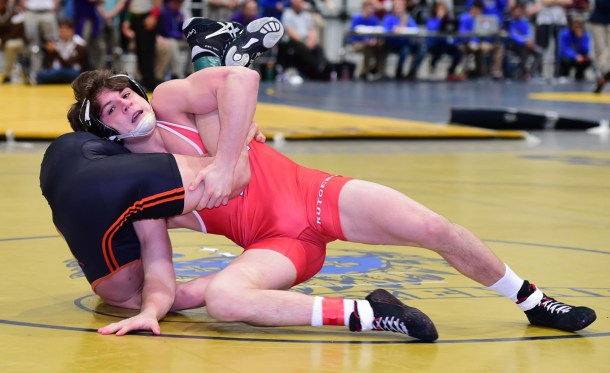 Rutgers sent two wrestlers to the semifinals, including 157-pound Anthony Perrotti, who majored Alex Elder of Oregon State, 13-5, in the quarterfinals. (Rob Preston image)