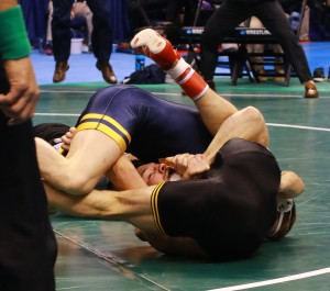 West Virginia's Zeke Moisey entered the NCAAs unseeded but pinned Iowa's Thomas Gilman at 125 pounds to reach his first final. (Ashley De Jager image)