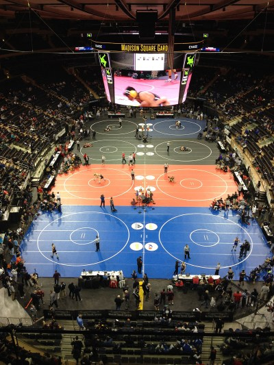 """Madison Square Garden has been the site of competitive wrestling the past  two Decembers as """"Grapple in the Garden"""" has drawn several  highly-ranked programs like Iowa, Oklahoma State and Iowa."""