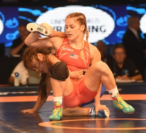 Helen Maroulis had won one silver and two bronze medal in past World Championships since beating Russia's Irina Ologonova for her first gold. (Ginger Robinson photo)