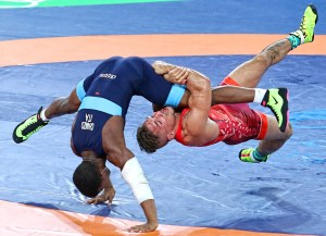Frank Molinaro nearly earned a bronze medal at 66 kilograms after nearly scoring a match-deciding takedown against Italy's World champion Frank Chamizo, but could not finalize the move before the buzzer sounded. (John Sachs photo)