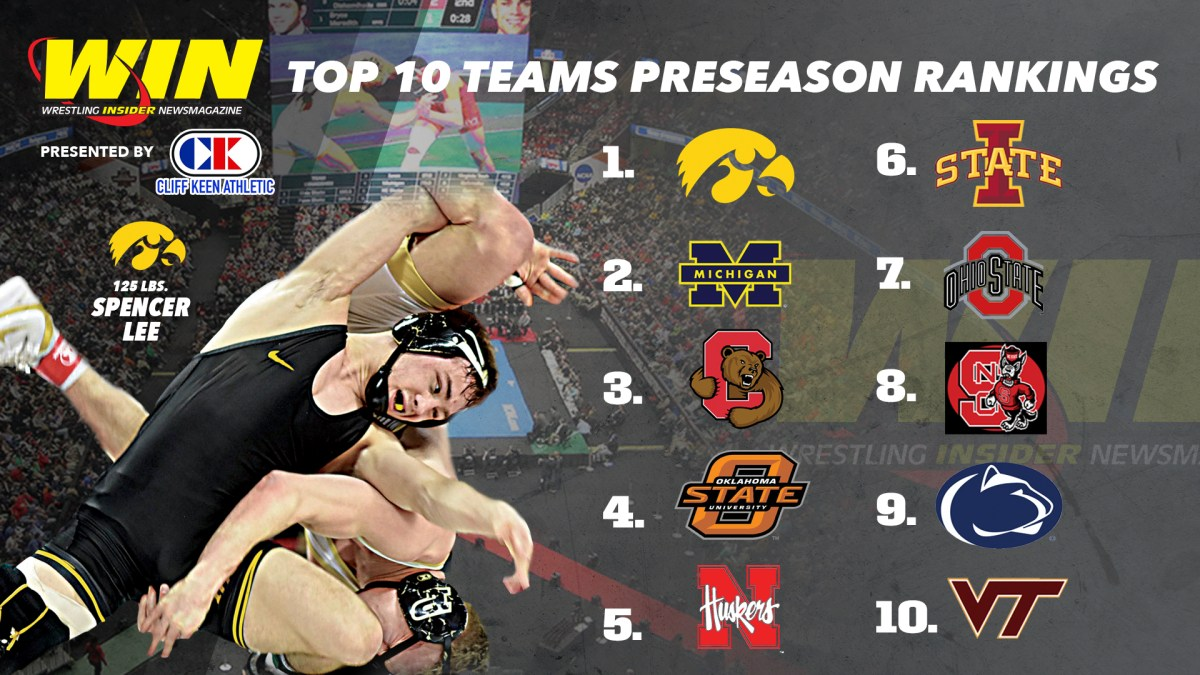 Iowa rated No. 1 in WIN Preseason TPI and Rankings, which include past champs Lee, Suriano, Diakomihalis and Lewis