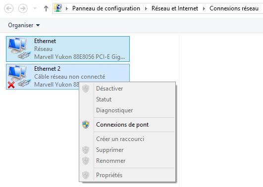 Comment créer une connexion de pont réseau sur Windows 8