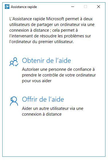 Utilisation de l'Assistance rapide de Windows 10