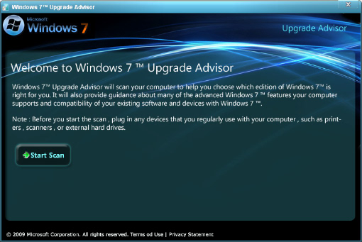 Windows 7 Upgrade Advisor Scan