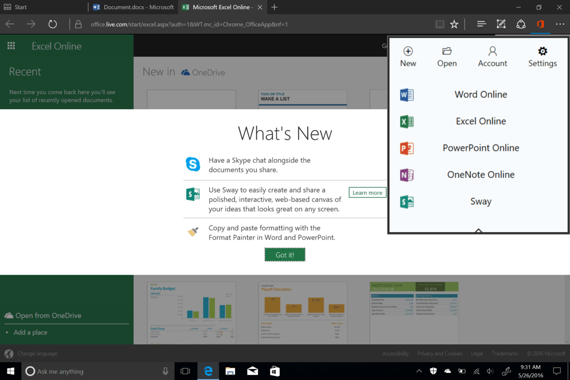 Screenshot-18 Office Online extension for Edge brings Office to your address bar