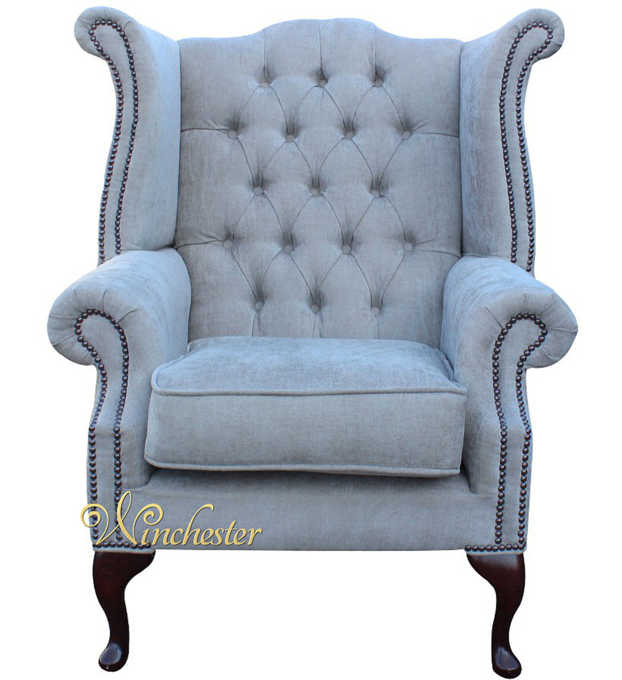 fabric queen anne high back wing chair ritz mink