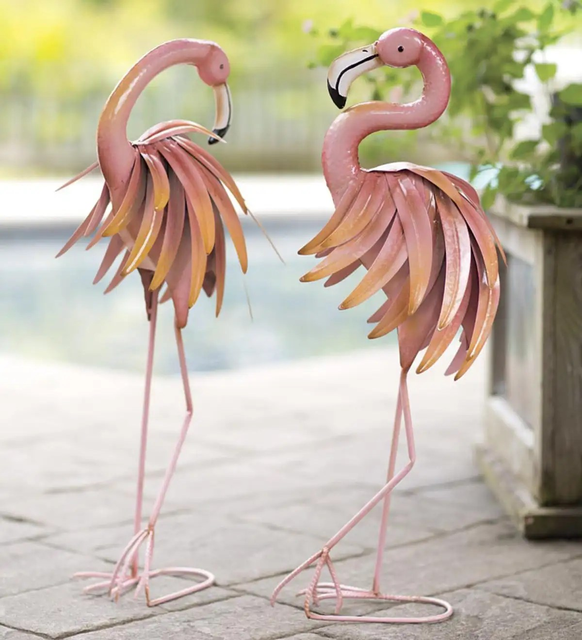 Feather Flamingo Metal Yard Sculpture - Backwards   Wind ... on Backyard Metal Art id=84522