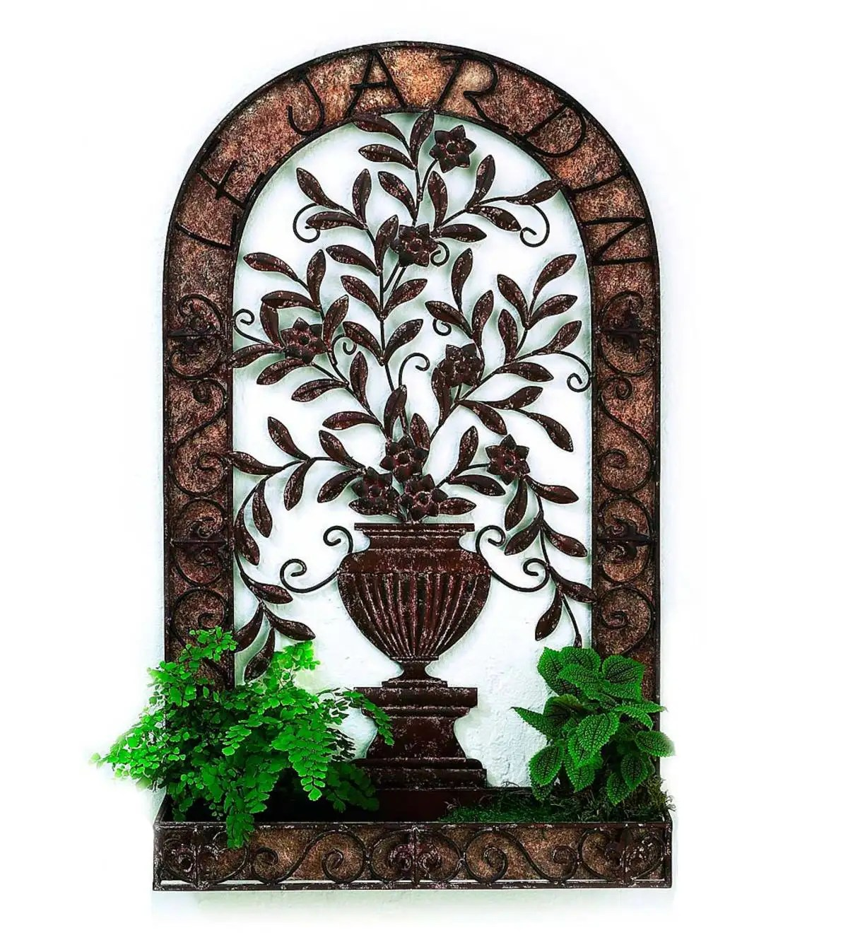 Iron Floral Design Wall Planter | Wind and Weather on Iron Wall Vases id=36391