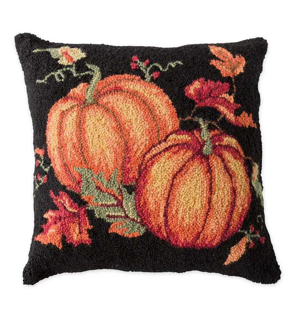 hand hooked wool fall pumpkins pillow wind and weather