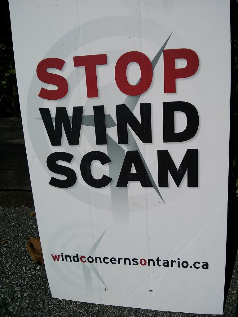 "Ontario communities fight against the Big Wind ""scam"": wind power cannot deliver on its promises of reducing GHGs, creating jobs, protecting the environment"