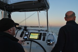 Alex helming Windependent into the River Tejo