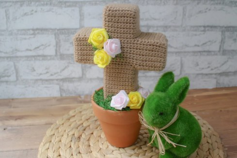 Photo tutorial on how to make a crocheted cross to decorate for Easter or as a memorial to someone you lost.