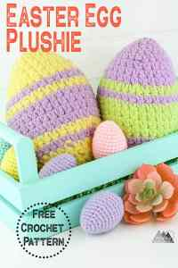 This free crochet pattern is quick and easy and perfect for easter. The Easter egg plushie use a little yarn and only about 30 minutes to make. #eastercrochet #crochetplush