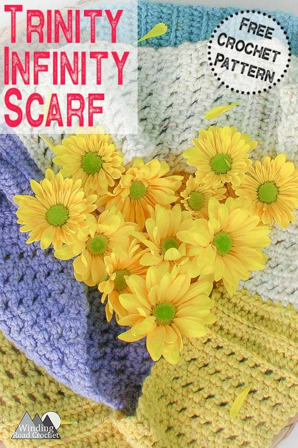 Free crochet pattern for the trinity infinity scarf by Winding Road Crochet. Crochet this easy scarf using one skein of yarn and basic crochet stitches. #crochetscarf #crochetpattern #infinityscarf