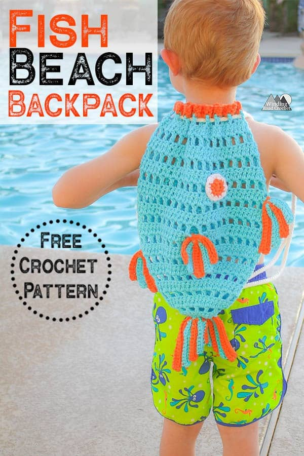 Crochet a fish beach bag with this free crochet pattern. The fish beach backpack is a great way to have kids carry some of their stuff to the pool. #crochetbag #beachbag #crochetforkids
