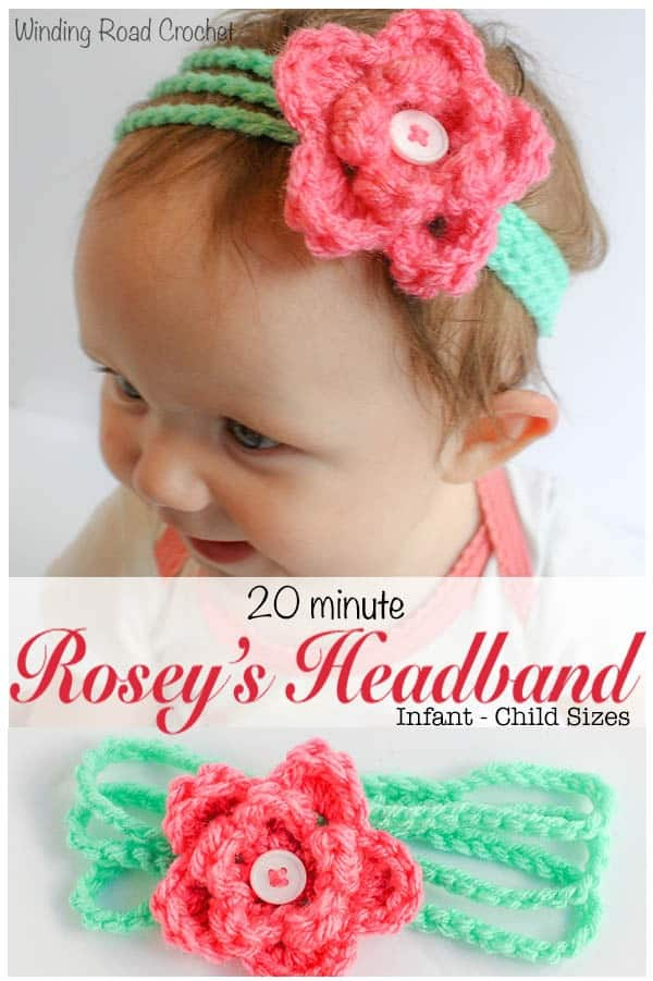 Rosey's headband is a free crochet pattern for a baby through girl's size headband. This pattern is designed to be quick and easy and is only limited by the colors in your yarn stash. This project is perfect for accessorizing your baby's outfit or make up a bunch and give them as a baby shower gift. There is instructions for a bow or flower to top this headband. Check out my blog for an easy baby girl dress as well. #free #pattern #headband #babyheadband #diyheadband #diy #crochetheadband #quick #easy #crochetpattern #freepattern #freecrochetpattern #babygirl