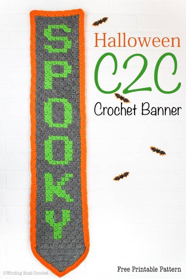 Halloween Corner To Corner Crochet Banner Free Crochet Pattern