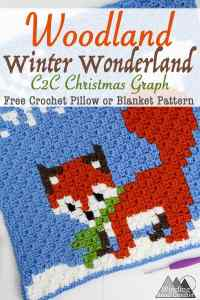 Winter Fox C2C Square Graph | This little crochet fox C2C graph is great as a pillow or in my Woodland Winter Wonderland Corner to Corner Blanket. This is a great project to work on all fall and have ready for Christmas. Crochet a blanket with little woodland creatures.