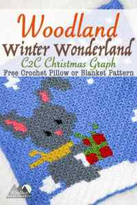 Little Gray Rabbit C2C Square Graph | This crochet rabbit C2C graph is great as a pillow or in my Woodland Winter Wonderland Corner to Corner Blanket. This is a great project to work on all fall and have ready for Christmas. Crochet a blanket with little woodland creatures.