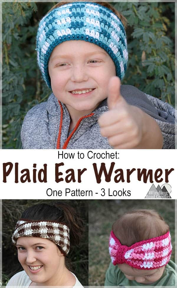 Learn to crochet this easy plaid ear warmer or headband. This crochet project works up fast and makes a great gift. We used them for family photos. Full photo tutorial showing how to make them. It is just one free crochet pattern to make all three styles. #crochet #crochetheadband #crochetearwarmer