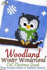 Crochet a beautiful C2C owl using this free chart. This Owl graph is part of my Woodland Winter Wonderland Blanket and is one of 9 charts released. Make this chart with the corner to corner crochet method, the bobble stitch method or just with Single crochet! This is a great project for the holiday season.