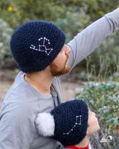 Learn to crochet this easy for beginners constellation beanie. Each beanie is as unique as a star with 16 constellation templates to choose from and adult, child and baby sizes. Get the free crochet pattern and learn an easy way to add star details to your crochet hat.