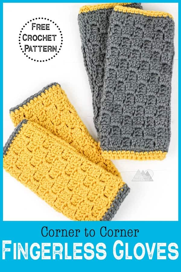 Learn how to crochet fingerless gloves using this free crochet pattern. This project is quick and with the video tutorial is it easy to learn the corner to corner crochet stitch. #c2ccrochet #crochetfingerlessgloves #crochetwristwarmers