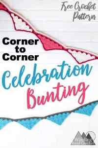 Learn how to corner to corner crochet and making this quick c2c bunting for any celebration or to add a festive touch to any room. Free crochet pattern with video tutorial.