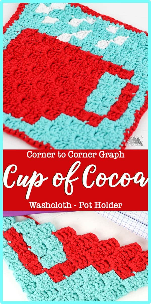 cup of cocoa c2c graph - corner to corner crochet graph with written chart - perfect graph for C2C beginners