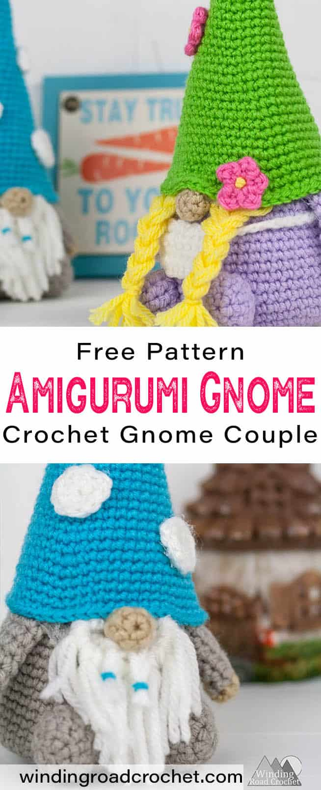 This crochet gnome is a great companion for any gardener. The Garden Gnome couple free crochet pattern uses easy amigurumi techniques with basic shaping. Great crochet project for beginners. #crochetpattern #gnome #crochetgnome #amigurumignome