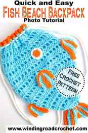 Crochet this quick and easy kids beach bag backpack. Free crochet pattern designed by Winding Road Crochet. #beachbag #kidsbackpack #crochetforkids