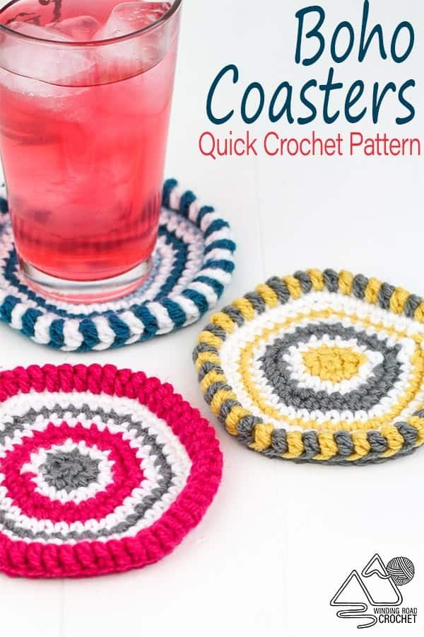 Add a touch of bohemian flair with these quick boho crochet coasters free crochet pattern. #bohocrochet #crochetcoaster #quickcrochetproject