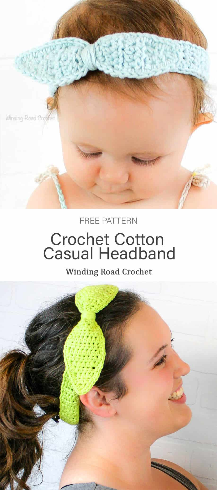 Crochet this quick and easy summer headband. Free crochet pattern by Winding Road Crochet. sizes for babies, kids and women. #crochetforwomen #crochetforbabies #crochetforkids #crochetheadband #freecrochetpattern #cotton #free #freepattern #pattern