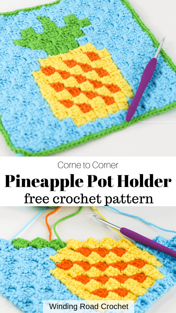 Corner to corner crochet pineapple graph or chart perfect to make a pot holder or wash cloth. Printable chart and written chart by Winding Road Crochet. #c2c #c2ccrochet #cornertocorner #crochetpotholder #crochetwashcloth