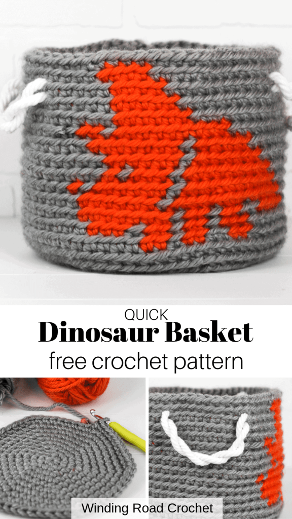 Crochet Dinosaur Basket, the first free pattern in a series of three nesting crochet baskets. Design by Winding Road Crochet. #dinosaur #crochetdinosaur #crochetbasket #crochethomedecor