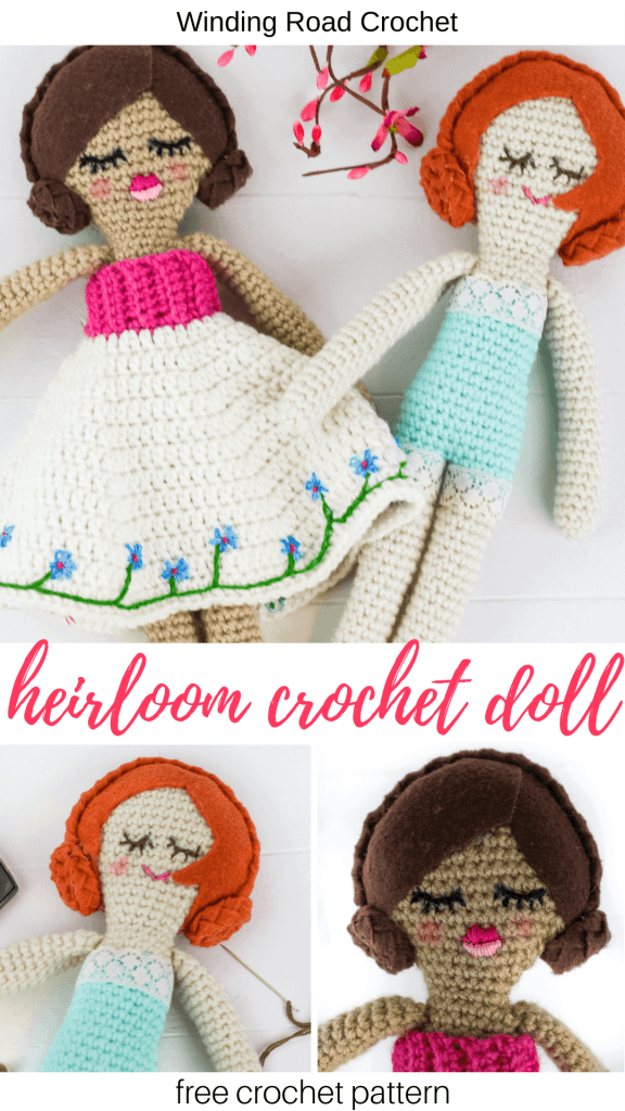 The Heirloom crochet doll is sure to be a treasured gift. Free crochet pattern by Winding Road Crochet. #crochetdoll #ragdoll #vintagedoll