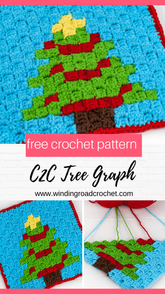 Crochet a quick and easy christmas tree c2c crochet graph. The graph is the perfect size for a pot holder or washcloth. Free pattern Winding Road Crochet.