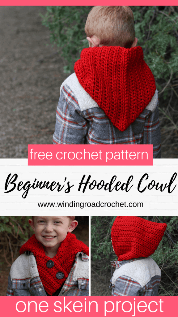 Crochet this beginner friendly hooded cowl. This free crochet pattern uses only basic crochet stitches. Quick and easy one skein project. #beginnerfriendly #oneskein #crochetcowl #crochetscarf #hoodedscarf