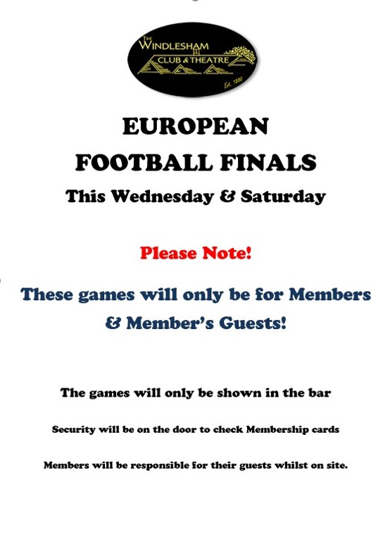 Members & Members guests only for the football finals this week!