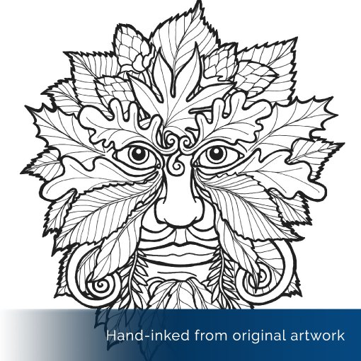 Green Man Colouring Page Detail