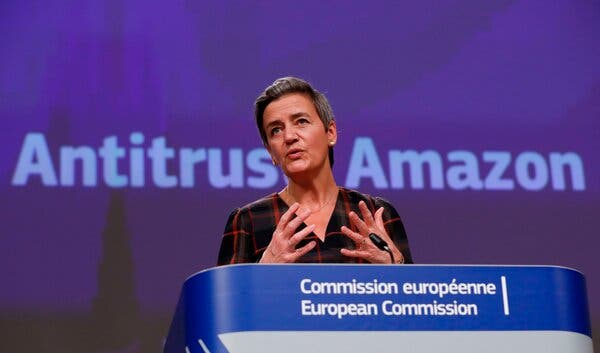 """We must ensure that dual role platforms with market power, such as Amazon, do not distort competition,"" said Margrethe Vestager, the European Commission's vice president for digital issues."