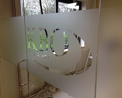 frosted office partition glass graphics