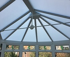Silver Shade polycarbonate film on conservatory roof