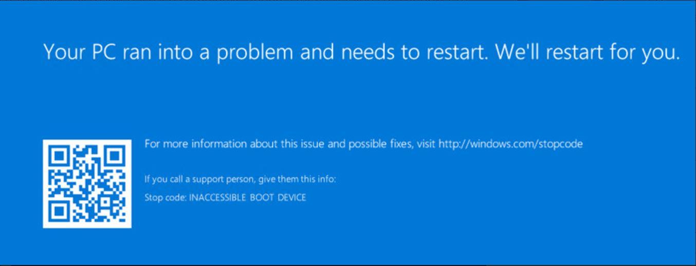Update cumulativo errore boot
