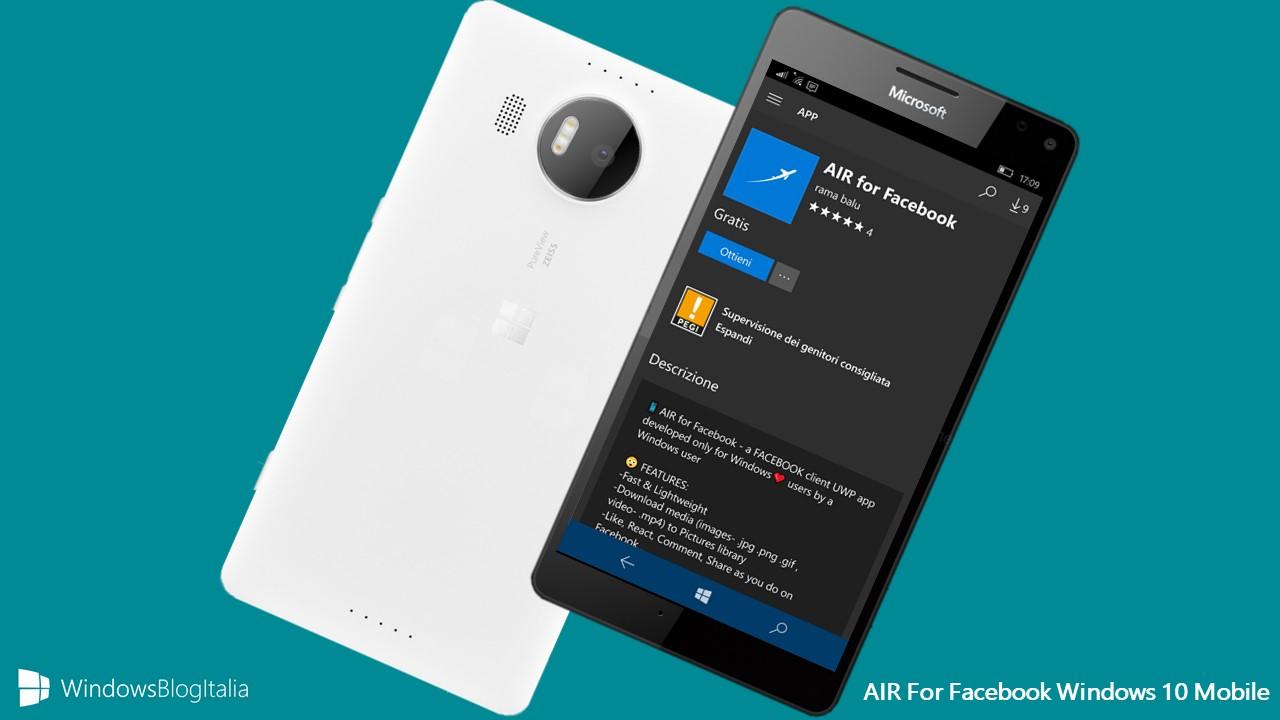 WIndows 10 Mobile AIR Facebook