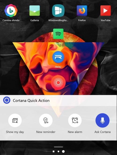 Cortana per Android quick action widget